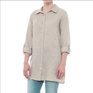 NWT Tahari Tan Linen Buttondown Top S